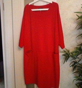 красное платье 60 р-р