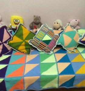 Подушки декоративные, ручной работы, вязаные,50х50