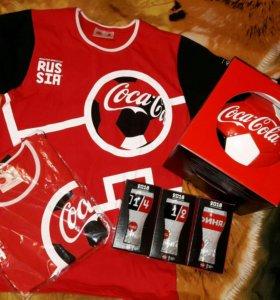 Набор футболка,мяч,стаканы Coca cola Кока кола
