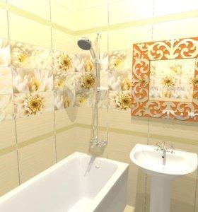 Ремонт ванных комнат, кафель, сантехника, потолки