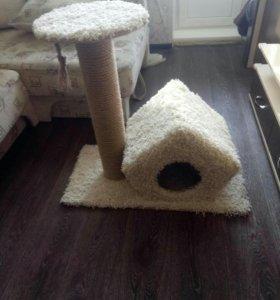 домик для кошек с лежанкой и когтеточкой