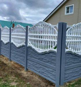 Забор декоративный бетонный