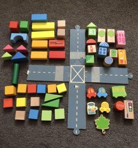 Деревянный набор- кубики (улица города)