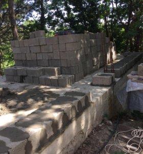 Кладка блока, бетонные работы.