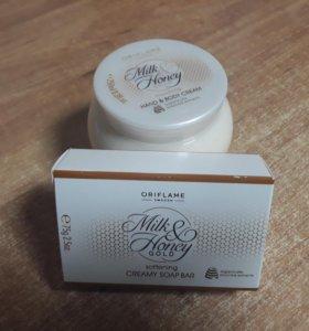 """Крем для тела + мыло """"Молоко и мед"""""""