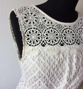 Кружевное летнее белое платье