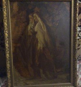 Старинная картина дерево масло 1885