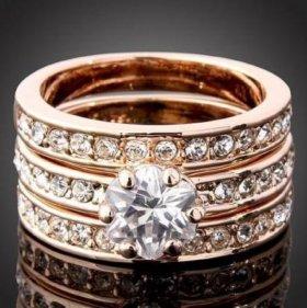 Кольцо 3 в 1 с кристаллами Swarovski.