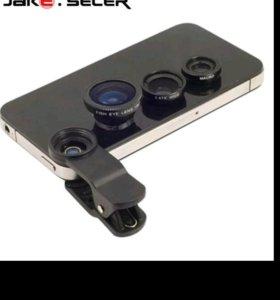 Линзы 3шт для камеры телефона