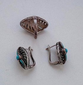 Комплект: сережки и перстень