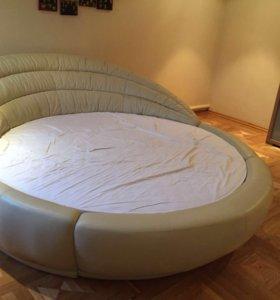 Кожаная кровать + матрас