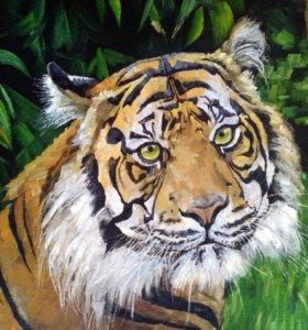 Картина Тигр масло.