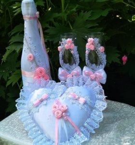 Набор свадебных аксессуаров ручной работы