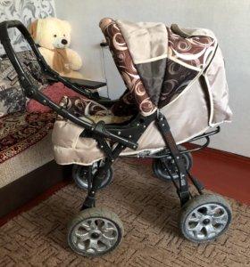 Детская коляска для ребёнка, в комплекте с корзино