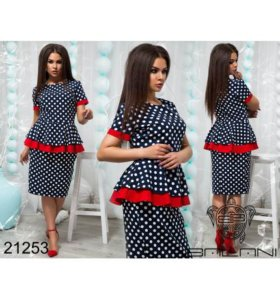 Платье с баской в горох - 21253