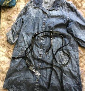Джинсовая рубашка-платье с портупеей