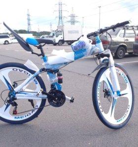 Велосипед складной на литых дисках синий
