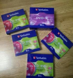 Диски CD-RW и DWD+R новые в упаковке.