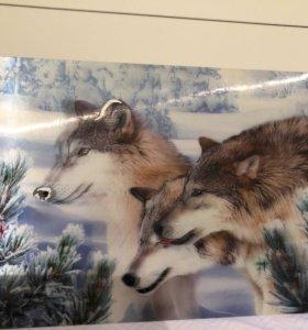 Картина 3D с волками