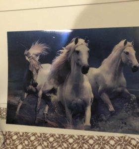 Переливающаяся картина с лошадьми 3D