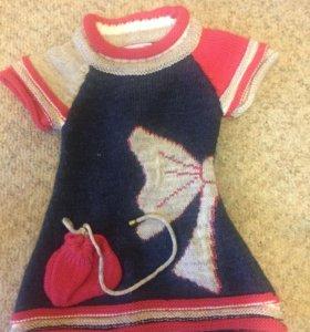 Вязаное платье и футболка