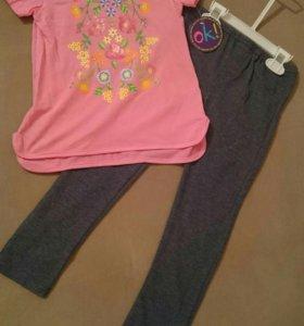 Костюм для девочки легинсы и футболка на 6 лет.