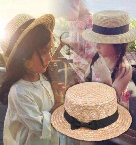 Новая детская шляпка соломенная