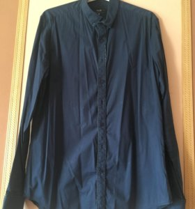 Рубашка мужская синяя, размер M