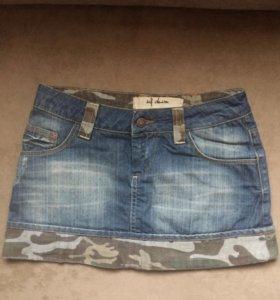 Юбка джинсовая милитари