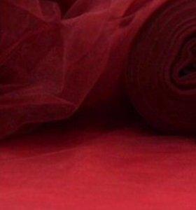 Фатин, бордовый, ткань