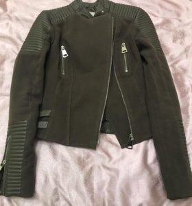 Куртка из натуральной кожи и текстиля на девушку