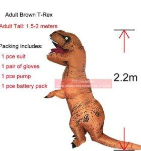 Надувной костюм динозавра взрослый коричневый