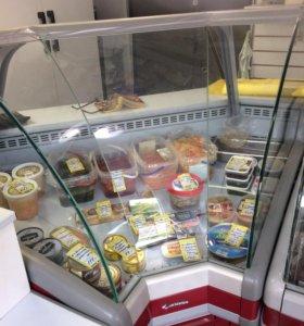 Холодильная витрина угловая внутр.