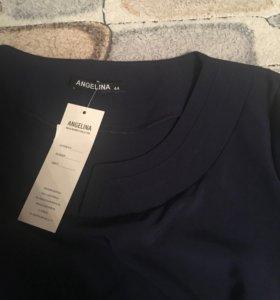 Блузка 44 размер с поясом. Цвет темно синий