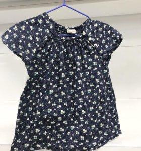 Хлопковая блузка для девочки на 12-16 месяцев