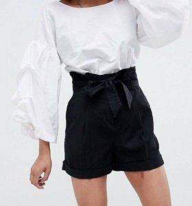 шорты с завышенной талией и поясом