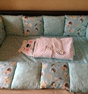 Комплект в кровать, конверт на выписку, бортики