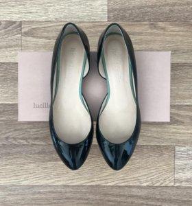 Туфли лаковые кожаные, 38 размер, сине-зеленые