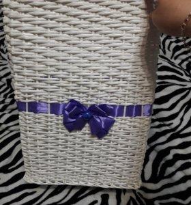 Плетеная корзина для белья ручной работы