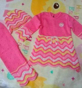 Вязаное платье 👗 (+шапочка и штанишки), новое