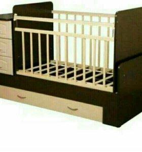 Детская кровать-трансформер + матрас