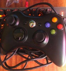 Геймпад Xbox, проводной, с переходником.