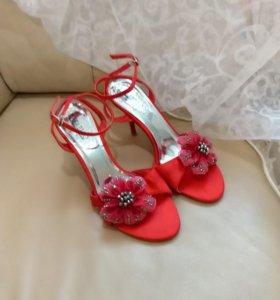 Туфли босоножки вечерние красные 39 размер