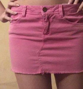 Мини Юбка джинсовая розовая zara