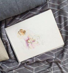 Картина акварелью . Балерины