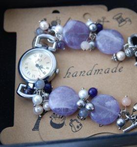 """Часы с браслетом из натуральных камней """"Шебби шик"""""""