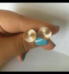 Золотые сережки, гвоздики