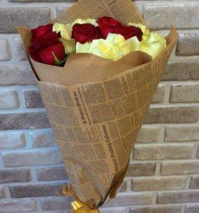 Букет роз в крафте спб