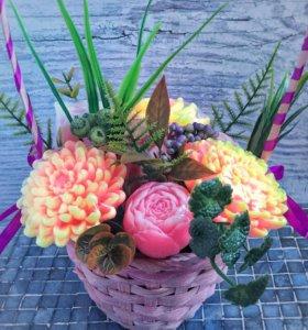 Корзина цветов из мыла ручной работы