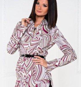 Рубашка блузка туника с поясом